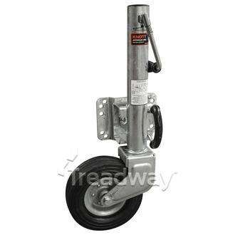 """Jockey Wheel Assy 8"""" HD 75mm Wheel Sidewind 545kg Galv Knott (Rubber wheel)"""