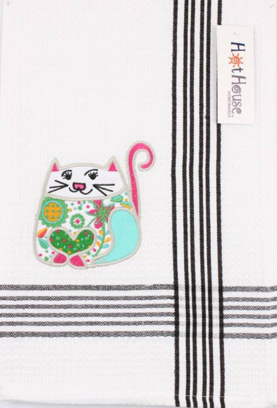 """Happy Cats"" embroidered tea towel. CODE: T/T-HCAT"