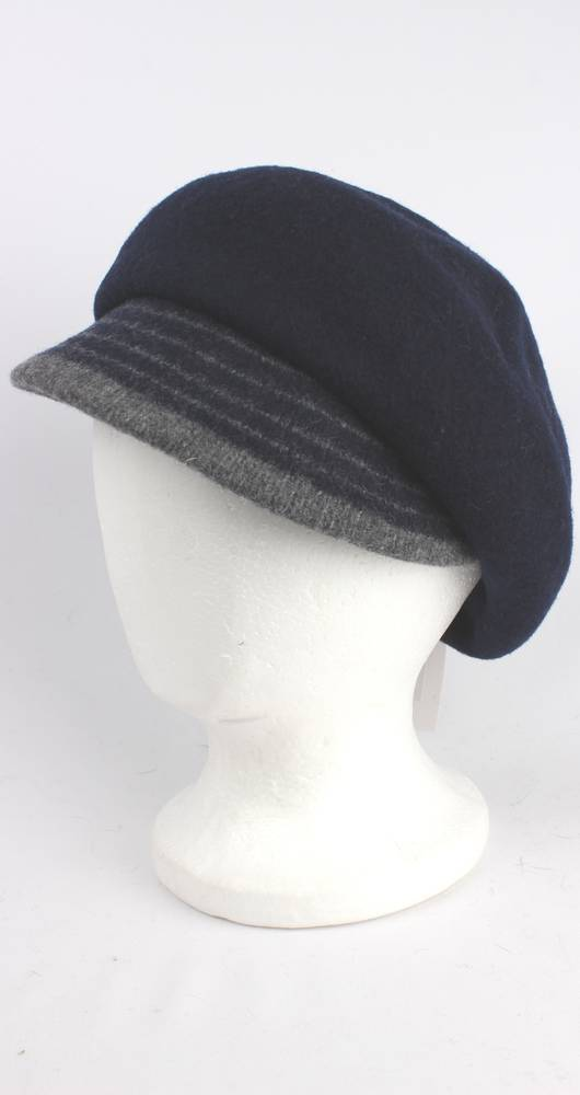 Headstart wool felt cap w 2 tone brim black/black/light grey Style : HS/1412