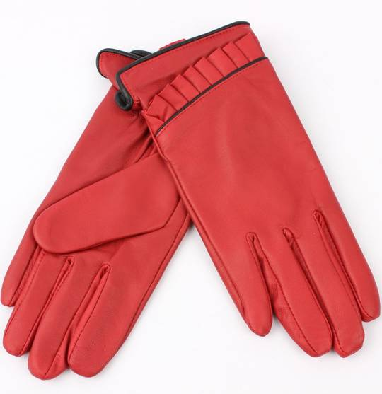 Ladies leather glove with ruffle red Style:S/LL1625
