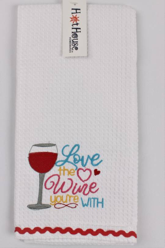 "Novelty ""Love the wine you're with"" tea towel Code:T/T-GF/WIN/LOVE"