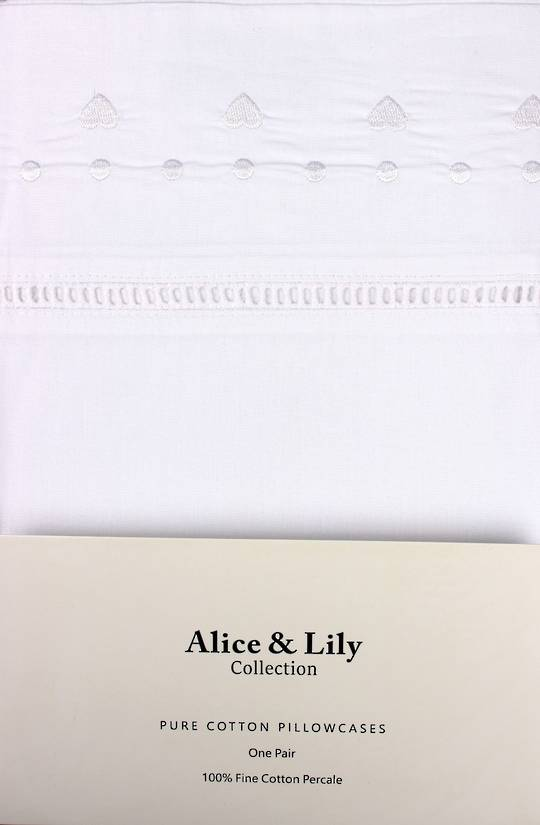 Alice & Lily pure cotton pillowcases one pair PARIS WHITE Code: EPC-PAR/WH. (NEXT DELIVERY MAY 2021)