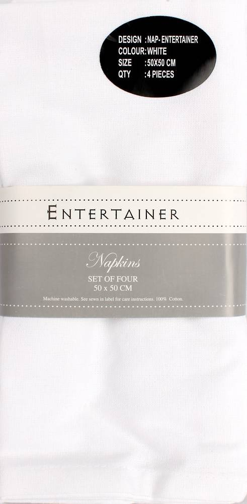 """Entertainer"" napkins 50x50cm set of four white. Code: NAP-ENT/SET/WHI. (NEXT DELIVERY MARCH 2021)_"