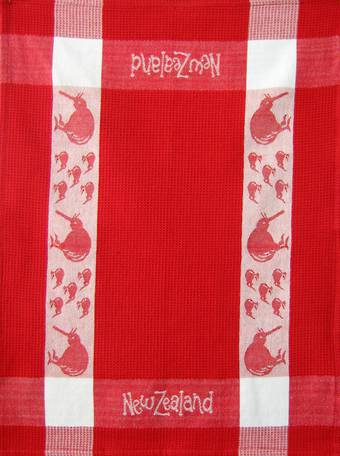 """Kiwi"" tea towel Red/White. CODE: S780/RED"
