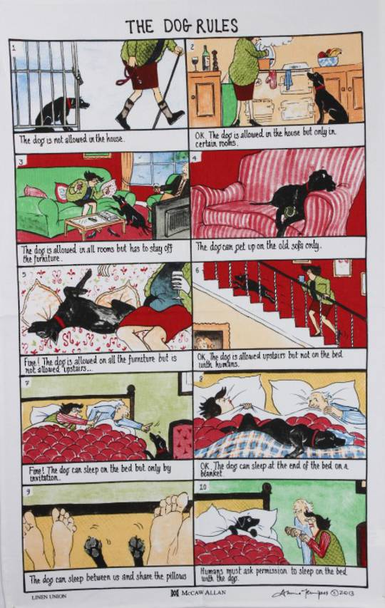 "Samuel Lamont ""Dog  rules"" tea towel. Code: TT-925"