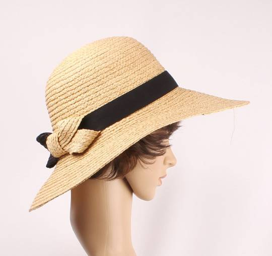 HEAD START raffia braid w bow hat w blk band  nat/blk  Style: HS/1435 NAT/BLK