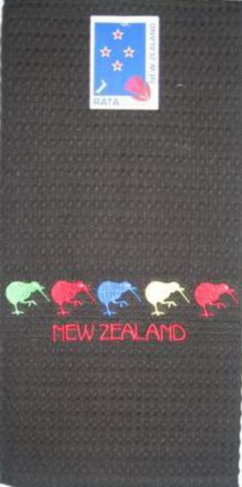 """5 Kiwis"" tea towel black. Code: S760/BLK."