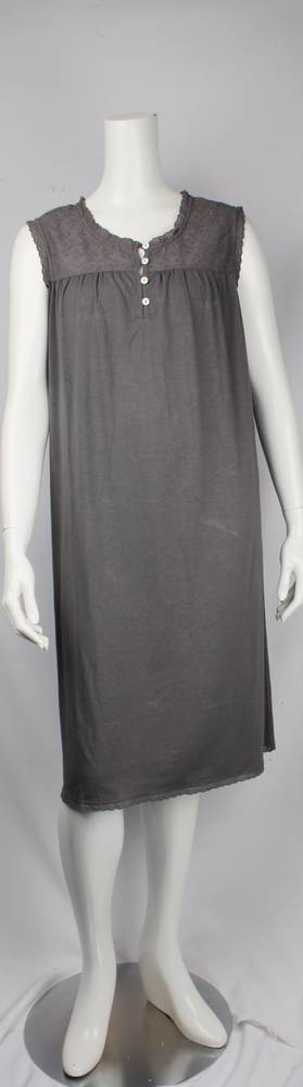Bamboo Cotton  sleeveless nightie grey,ivory Style: AL/ND-267GREY