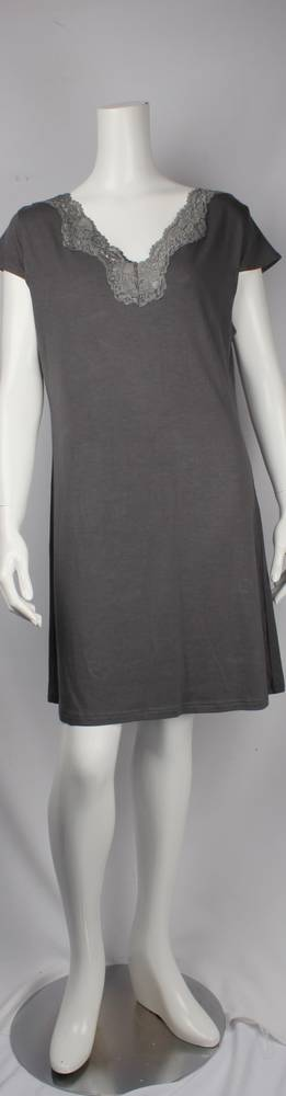 Bamboo Cotton  cap sleeve  nightie w lace neck grey,ivory and black  Style: AL/ND-268GREY