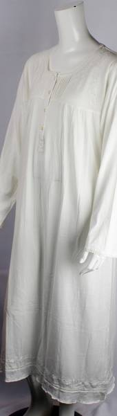 Cotton knit L/S nightie w button neck ,pleats, embroidered floral yoke and hem ivory Style:AL/ND-281