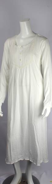 Cotton knit L/S nightie w button neck and embroidered lace yoke and cuff ivory Style:AL/ND-282