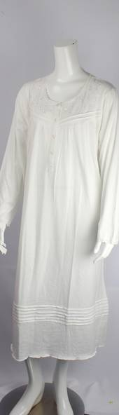 Cotton knit L/S nightie w button neck and embroidered floral yoke w lace trim ivory Style:AL/ND-283