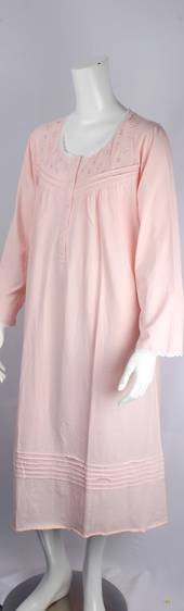 Cotton knit L/S nightie w button neck and embroidered floral yoke w lace trim pink Style:AL/ND-283