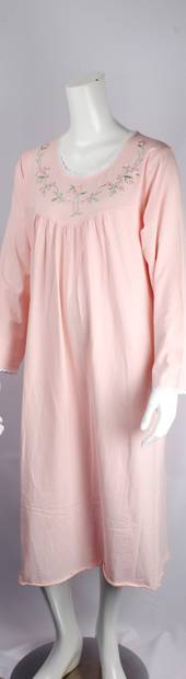 Cotton knit L/S nightie w laced trim neck and embroidered floral yoke and lace hem pink Style:AL/ND-285