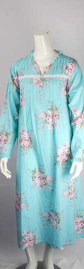 Cotton floral L/S nightie w buttons, pleats ,ruffled necking and cuffs blue  Style:AL/ND-287