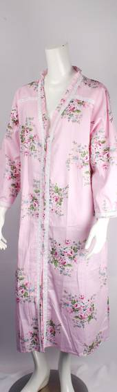 Cotton floral robe w buttons ,lace full length trim pink  Style:AL/ND-289