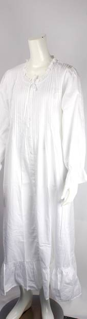 Winter weight cotton L/S nightie, pleated yoke ruffled neck and hem white Style:AL/ND-294
