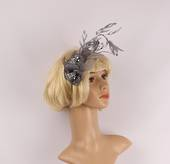 Branch fascinator w sinamay flower and feathered leaves grey STYLE: HS/3010GRY