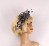 Fascinator w sinamay flower and feathers grey Style : HS/3011/GRY
