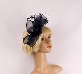 Gorgeous fascinator w beautiful  stitched edge sinamay bow blue  Style : HS3013/BLU
