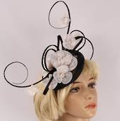 Head band sinamay  hatiinator w floral branches black and white STYLE: HS/3025/B/W