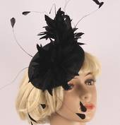 Head band sinamay  hatiinator w feathers black STYLE: HS/3026 /BLACK
