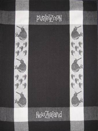 """Kiwi"" tea towel Black/White. CODE: S780/BLK."