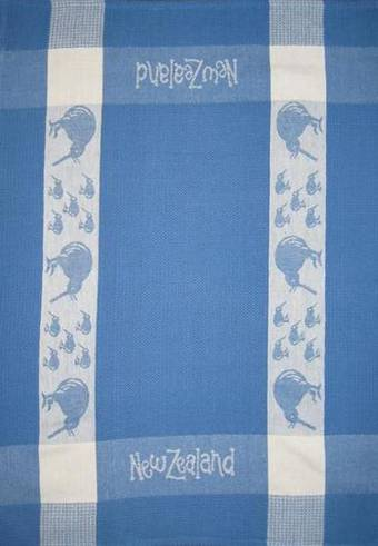 """Kiwi"" tea towel Blue/White. CODE: S780/BLU."