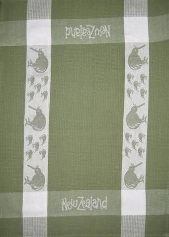 """Kiwi"" tea towel Green/White. CODE: S780/GRN."