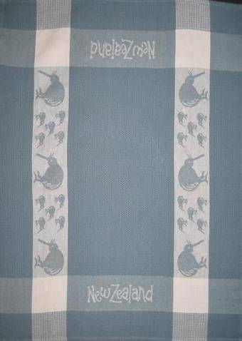 """Kiwi"" tea towel Grey/White. CODE: S780/GRY."