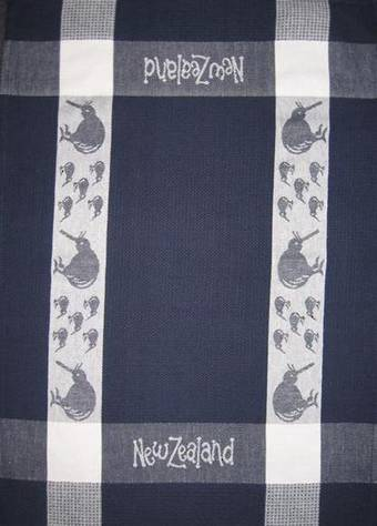 """Kiwi"" tea towel Navy/White. CODE: S780/NAV."