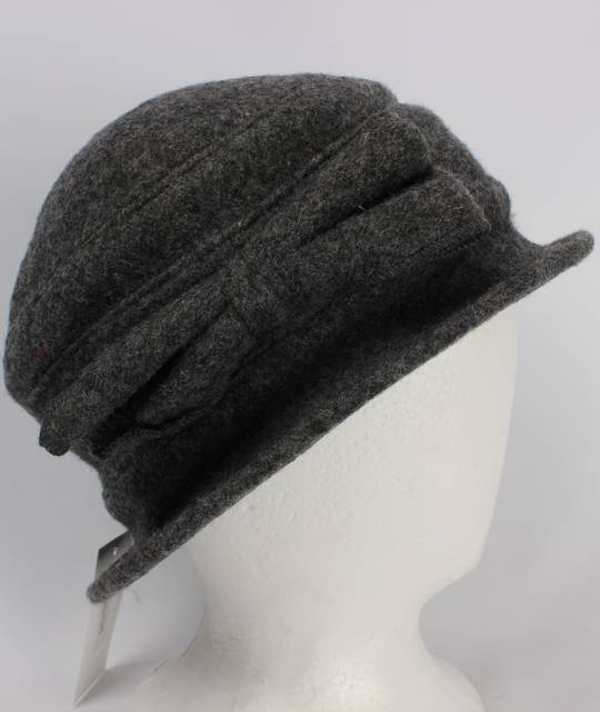 Soft wool felt hat w bow grey Style: HS/4240GRY