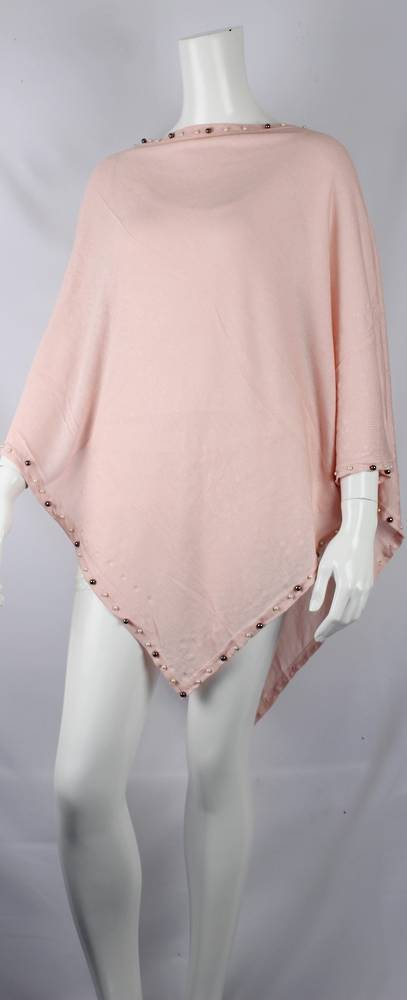 Alice & Lily plain poncho w beaded trim blush Style: SC/4381BLUSH