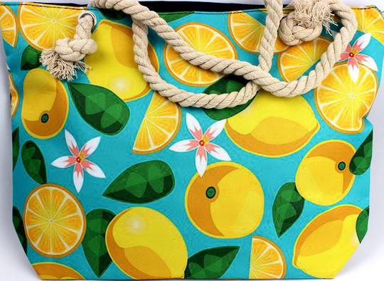Colourful carry bag w base and rope handle lemon print Style :AL/4493