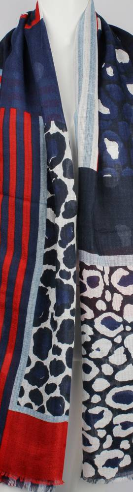Alice & Lily printed viscose autunm/winter weight scarf navy animal Style:SC/4594NAVY