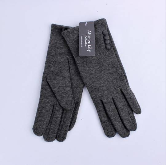 Winter ladies thermal lined w button trim  glove grey Style; S/LK4607/GRY