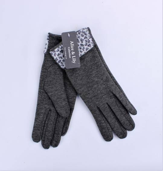 Winter ladies thermal lined w faux pony animal cuff  glove grey Style; S/LK4610/GRY