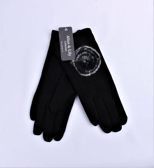 Winter ladies thermal lined glove w black rosette Style; S/LK4612/BLK