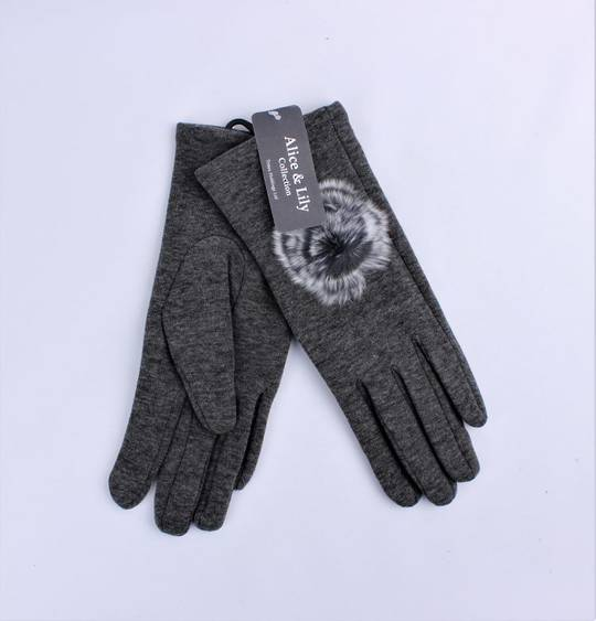 Winter ladies thermal lined glove w fur rosette Style; S/LK4612/GRY