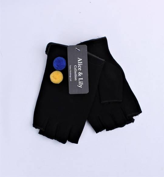 Ladies fingerless  glove w pom pom trim black Style: S/LK4613