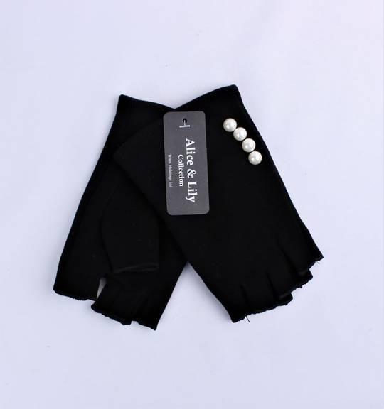 Ladies fingerless  glove w pearl black Style: S/LK4615
