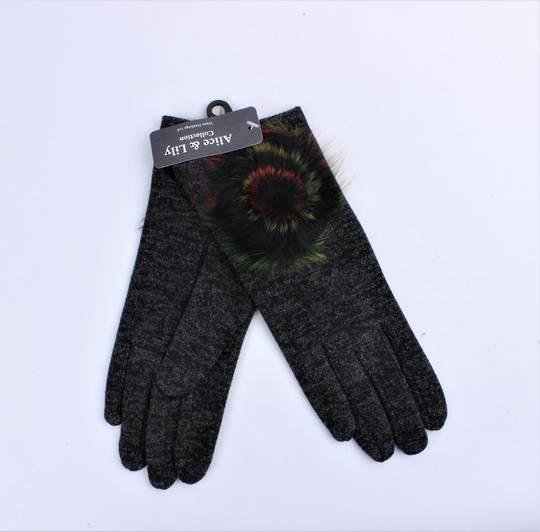Winter ladies textured glove w fur rosette trim black Style; S/LK4617/BLK