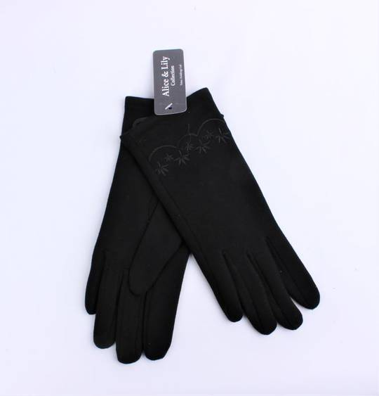 Winter ladies thermal lined glove w embroidery navy  Style; S/LK4620/NAV