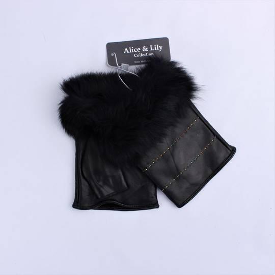 Genuine fingerless  leather fur cuff  glove, black Code: S/LL4622