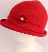 Headstart angora brimmed  cloche w fur flower red  Style : HS/4627