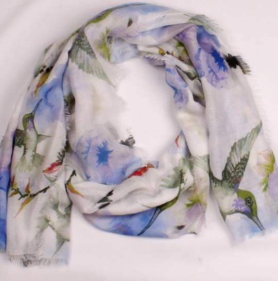 Alice & Lily printed  scarf blue hummingbird Style:SC/4656/BLU