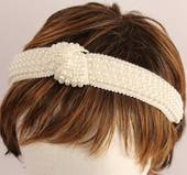 Fashion pearl bead knotted headband ivory Style: HS/4669/IVRY