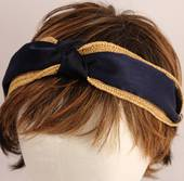 Fashion straw satin headband navy Style: HS/4670/NVY