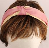 Fashion straw satin headband pink Style: HS/4670/PIN