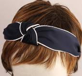 Fashion pearl bead knotted headband navy Style: HS/4671/NVY